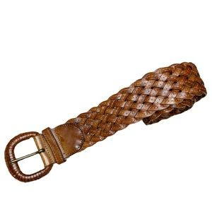 Eddie Bauer Brown Woven Braided Leather Belt